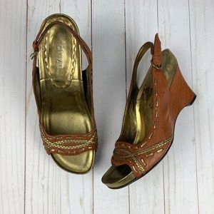 Taryn Rose Brown/Gold Leather Slingback Wedges 10